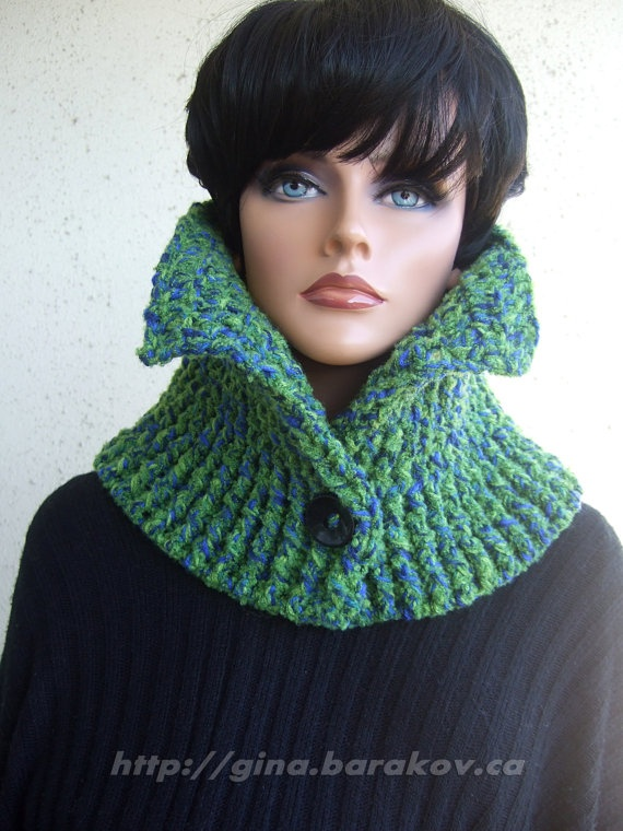 Crochet Rib Stitch Scarf / Neck Warmer in Green and by GBArtStudio, $65.00