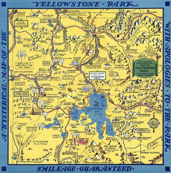 Hysterische' kaart van het Yellowstone Park van World Maps ... on mesa verde on world map, reno on world map, great salt lake on world map, the rocky mountains on world map, mt st helens on world map, butte on world map, tambora on world map, mexico on world map, georgetown on world map, cheyenne on world map, valley on world map, pinatubo on world map, azores islands on world map, yosemite on world map, bryce canyon on world map, iceland on world map, rochester on world map, platte on world map, crater lake on world map, glacier national park on world map,