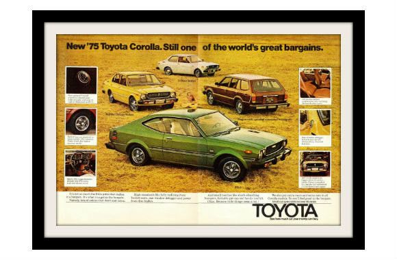 "1975 Toyota Corolla Car Ad ""SR-5 Sedan"" Vintage Advertisement Print"