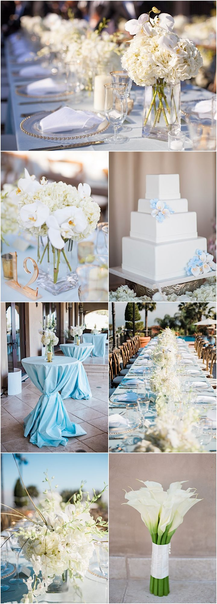 Featured Photographer: Jillian Rose Photography; white and light blue wedding reception
