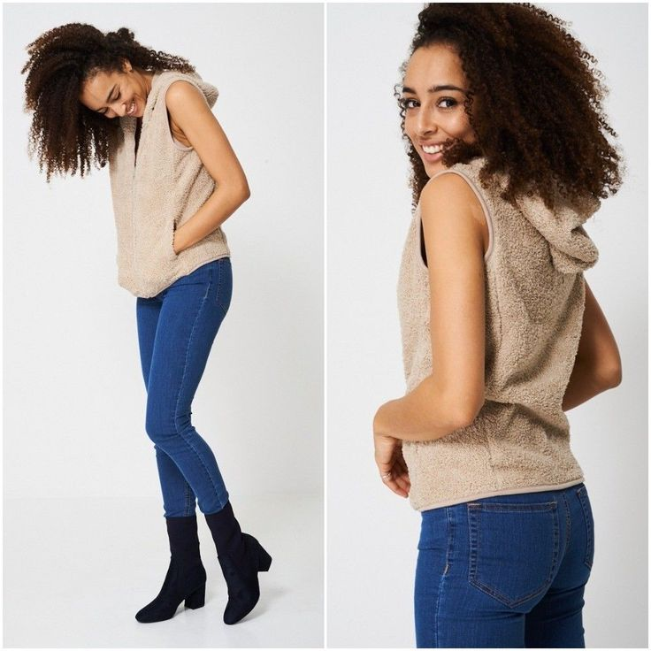 Beige Hooded Fluffy Gilet Womens Hoody Sleeveless Body Warmer Sizes UK 8 10 12
