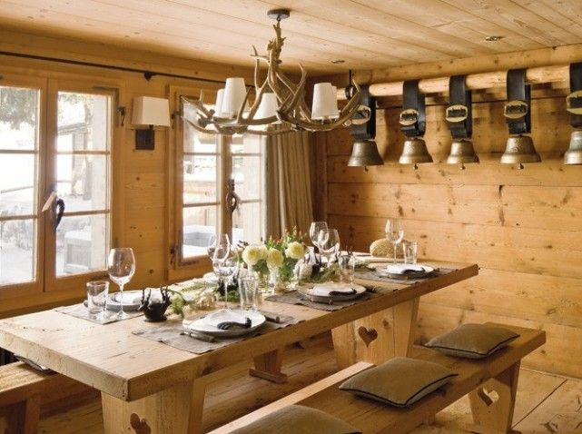 Luminaire Bois De Cerf : Rustic French Country Dining Room Ideas