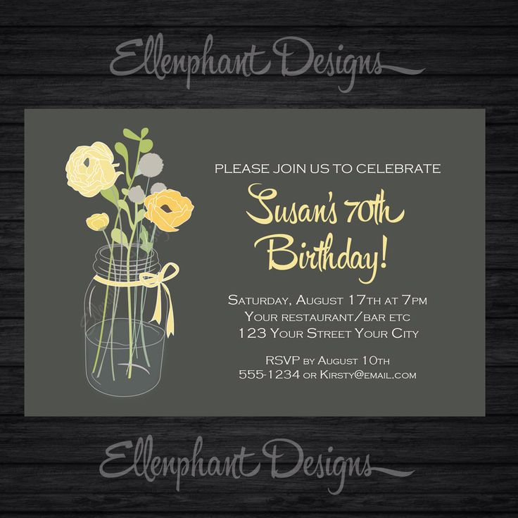 bday party invitation mail%0A Yellow and gray floral Birthday Invitation  suits women  adult    th    th