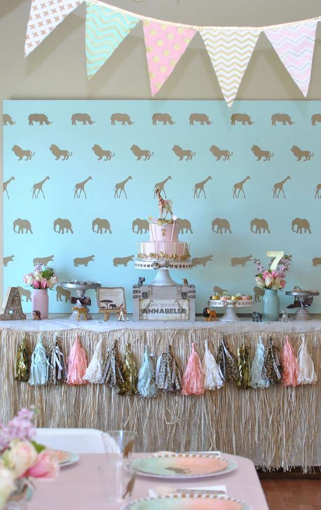 Glam safari birthday party! See more party planning ideas at CatchMyParty.com!
