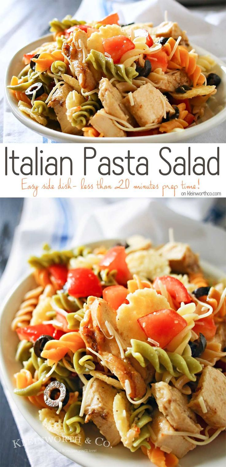 Italian Pasta Salad is an easy side dish that includes grilled & ready chicken, tomatoes, olives and Italian dressing. Simple to make in under 20 minutes. on kleinworthco.com AD