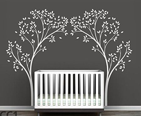 Set Of 2 Birch Tree Wall Decals White Tree Wall Decals For Nursery Tree  Wall Decal