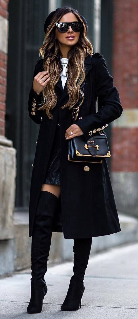 winter fashion trends / long coat + bag + top + skirt + black over the knee boots