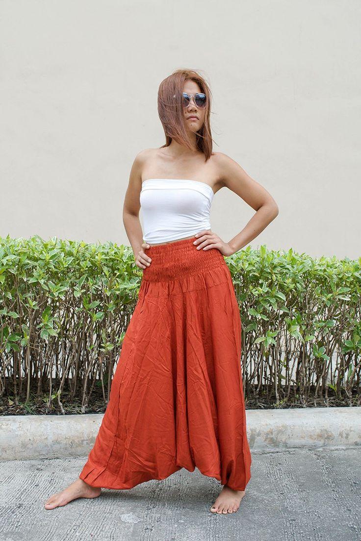 Thai Harem Pants Women Jumpsuit Solid Color Burnt Orange