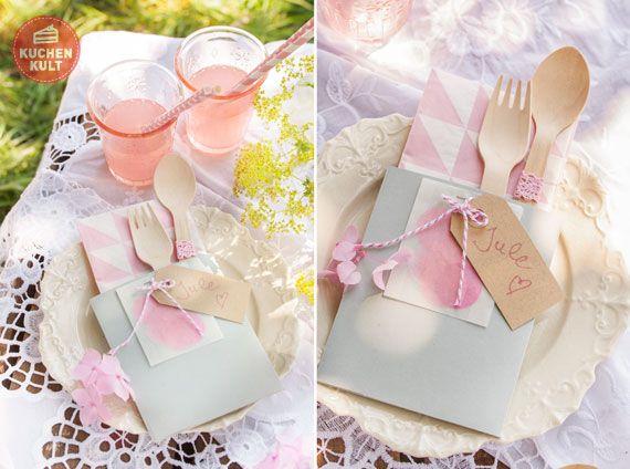 #Picknick, süße #Bestecktasche, Deko, #Kaffeekränzchen im Grünen, #decoration for romantic #picnic