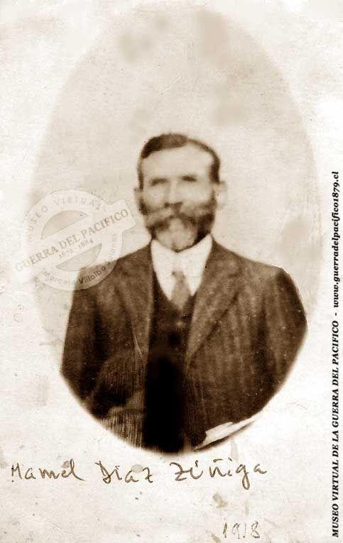"""Soldado Manuel Díaz Zúñiga Soldado de la 2ª Compañía del 2º Escuadrón del Regimiento """"Granaderos a Caballo"""", fue transferido al """"Carabineros de Yungay"""", en la 1ª Compañía del grupo, fue licenciado por cumplimiento de servicio en noviembre de 1884, por lo que participó durante toda la guerra, actuando directamente en las campañas de Tacna, Arica y Lima. Imagen: gentileza del Comandante de Escuadrilla (R) de la Fuerza Aérea de Chile, don Alamiro Castillo Aliaga, bisnieto del veterano."""
