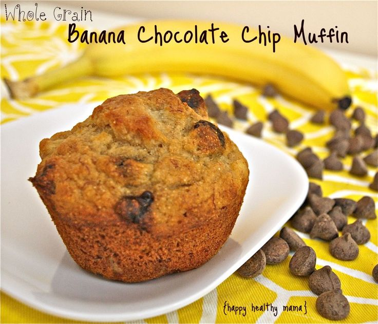 banana chocolate chip muffins. Left out chocolate chips. Used flax ...