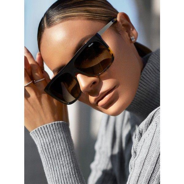 Quay Australia Quay X Desi OTL II Sunglasses ($51) ❤ liked on Polyvore featuring accessories, eyewear, sunglasses, quay eyewear, quay glasses, quay sunnies and quay sunglasses