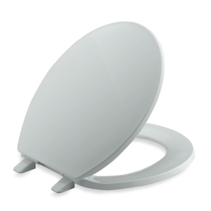 Kohler K-4775 Brevia Q2 Round Closed-Front Toilet Seat with Quick-Release and Qu Ice Grey Accessory Toilet Seat Round