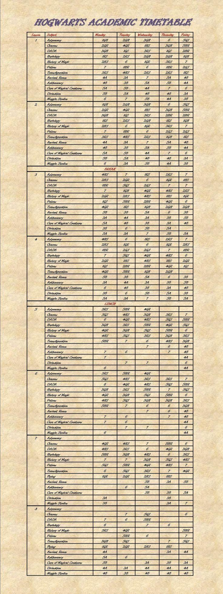 Hogwarts Academic Timetable by bleddyn-coch