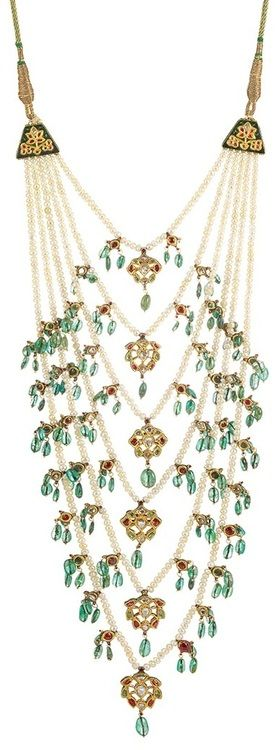 Indian Multistrand Pearl, Jaipur Enamel, Emerald Bead, Foiled-Back Colored Stone and Diamond Necklace.✿⊱╮