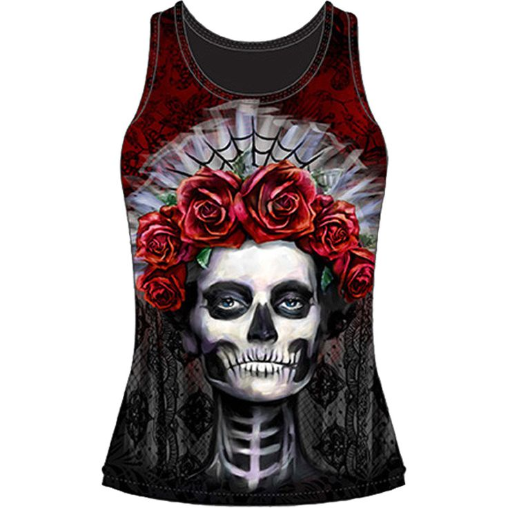 Inked Boutique - Dark Widow Sublimation Tank Top Black Day of the Dead Girl www.inkedboutique.com