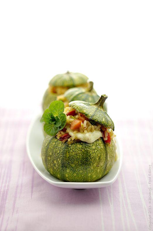 Zucchine tonde ripiene con basmati e verdure