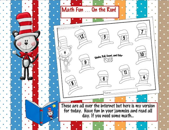Dr. Seuss shake, roll, count, and color math game