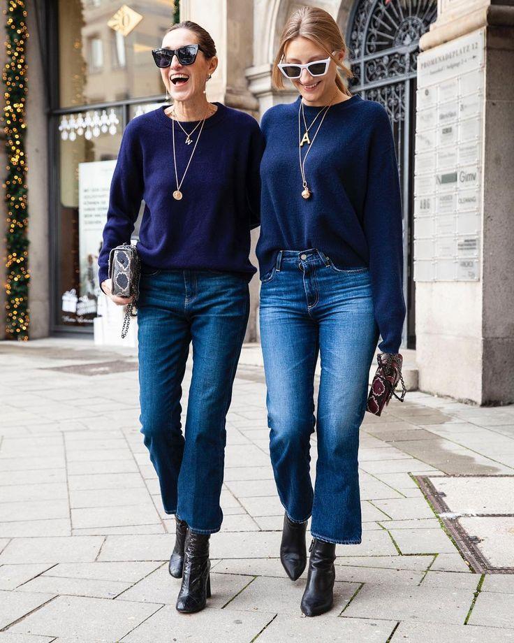 """Netti Weber on Instagram: """"True Blue! Nachtblaue Cashmere Pullover und Bluejeans, entspannt, lässig, sportlich, schick. Die Pullovers sind aus der Glamometer…"""""""