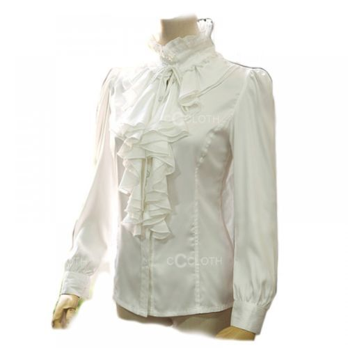 Details About Black White High Neck Frilly Womens Vintage