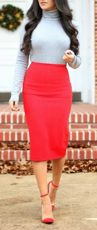 Red pencil skirt + turtleneck.