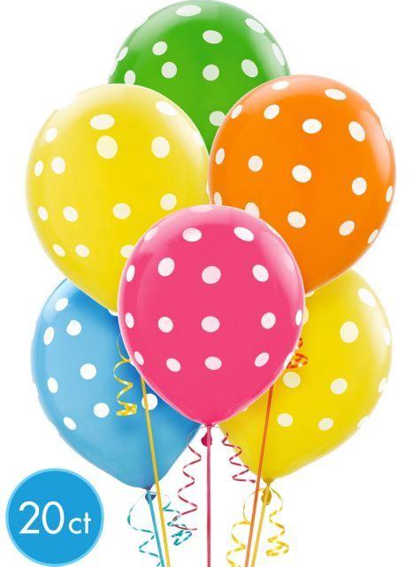 Latex Bright Polka Dots Printed Balloons 12in 20ct - Party City