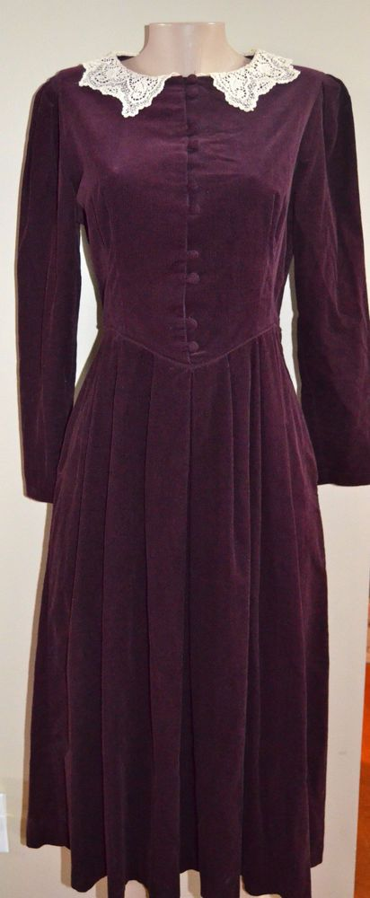 STUNNING VINTAGE LAURA ASHLEY DEEP PLUM/LACEY COLLAR CORDUROY DRESS, sz 8 #LauraAshley