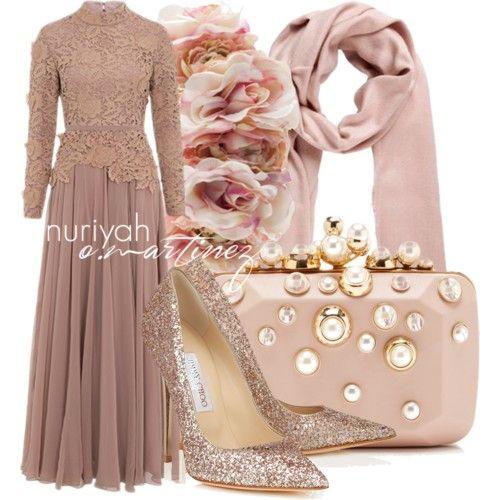 Hijab Outfit by Nuriyah O. Martinez      Rose dress €120-inayahcollection.com    Jimmy Choo heels & pumps €865-jimmychoo.com    Elie Saab pink handbag €2.390-modaoperandi.com    Pink scarve €33-envii.dk    Rock N Rose floral crown €64-silkfred.com