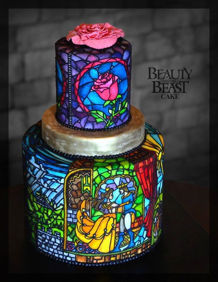 Stained glass beauty and the Beast inspired wedding cake