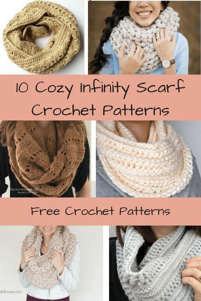 10 Free & Cozy Infinity Scarf Crochet Patterns   Cowl   Free Patterns   Crochet   Scarf   Infinity Scarf   Chunky   Lace   Winter   Fall   Warm   Yarn