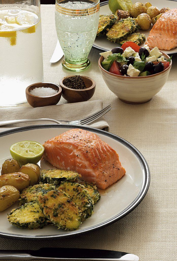 4 x 150g salmon pieces 2 tablespoons chopped basil or parsley 1 cup dry breadcrumbs  salt and freshly ground black pepper 2 courgettes, sliced on an angle 1 egg, whisked 2 tablespoons oil   St...