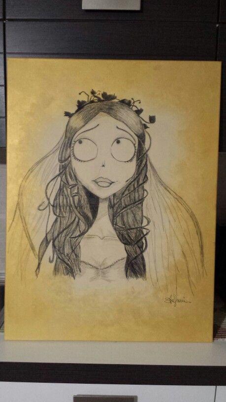 Emily...sposa cadavere! Fondo tempera, disegno con matita.