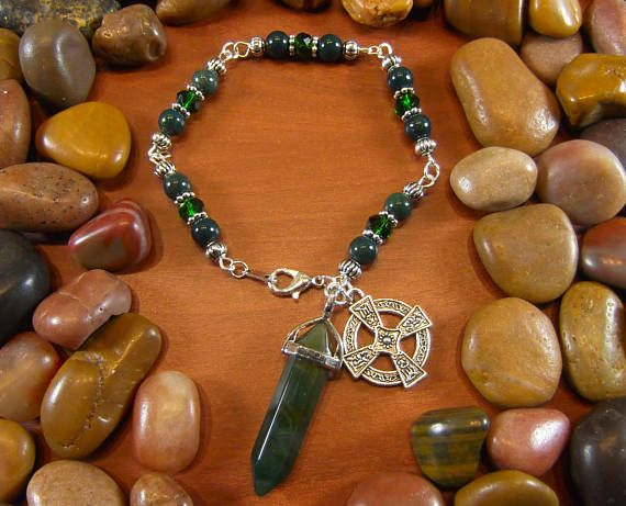 Bloodstone & Agate Celtic Cross Crystal Talisman Bracelet at Starshine Beads on Etsy