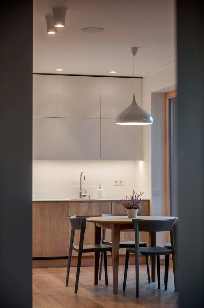 The favourite look and design trend trough-out nowaday Lithuanian interiors definitely is a nordic modern style. This kind of interior style is not only popular, but also a really stylish mix between rustic, scandinavian use of wood and a crisp, modern way of shaping the space. The apartment in this post features the mentioned details and is painted in a palette of muted, blue-greyish tones with a dash of softer warm wood details all over the space. The living room, kitchen and other…