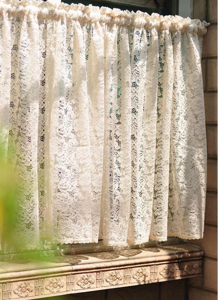 Lace Curtains Farmhouse Rustic Chic Vintage French Provincial Fairy Tale Creamy Cafe Lacecurtains