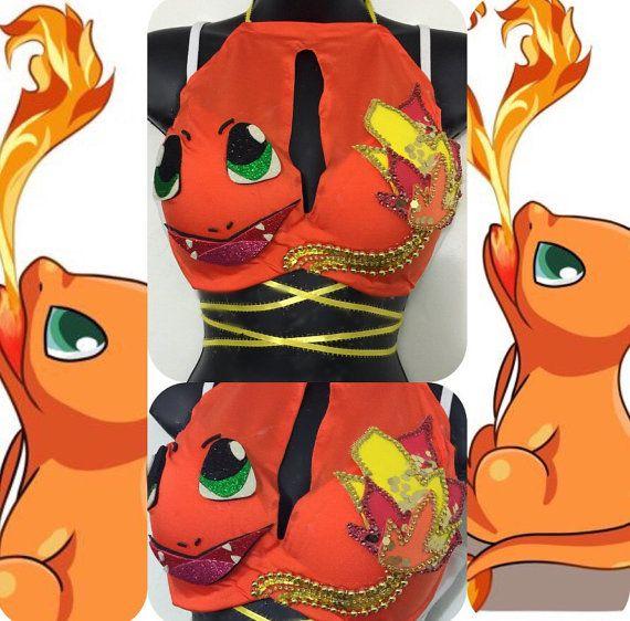 Charmander Pokemon Bra: rave wear festival by RichMahoganyLife