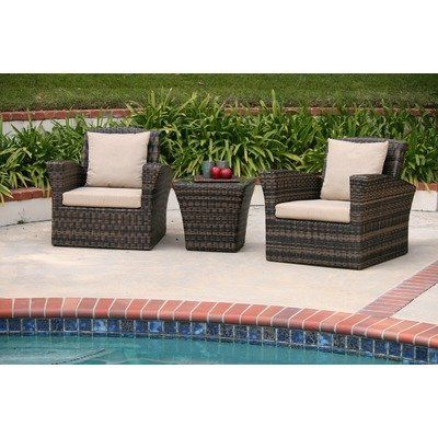 Maui 3 Piece Deep Seating Group with Cushions Fabric: Cameo Brass by AIC Garden & Casual. $867.00. I402-73S-01-A507-C Fabric: Cameo Brass Maui is the perfect patio conversational set for lounging and entertaining. This set features a tropical design with a touch of contemporary flair. Glass tops on the coffee and accent tables add style and function. Features: -Set includes: Two club chairs and one side table, soft seat cushions and two toss pillows. -Material:...