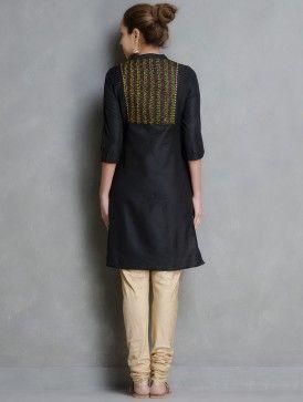 Black Kantha Embroidered Yoke & Sequin Detailed Cotton-Silk Kurta by Firroza