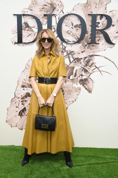 Celine Dion Leather Dress - Celine Dion rocked a mustard leather shirtdress by Dior during the label's Haute Couture show.