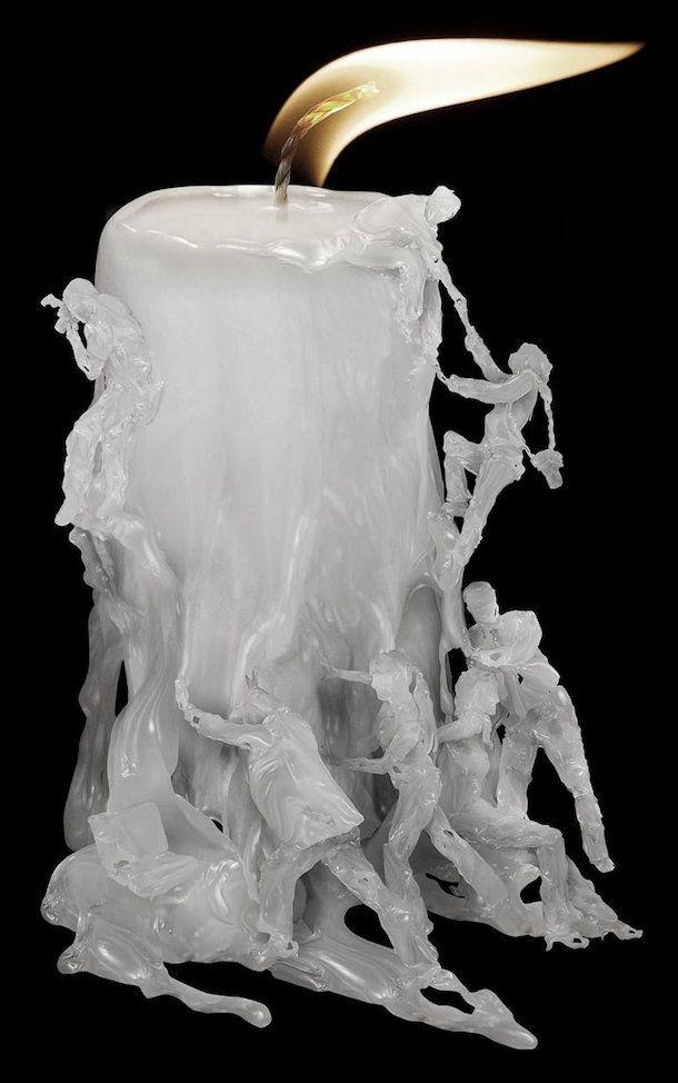 Digitale smeltende kaars. Deze digitale afbeeldingen zijn gemaakt door Indonesische kunstenaar Ferdi Rizkiyanto.