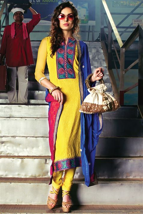 Beautiful Yellow Chiffon Pakistani Style Straight Cut Suit