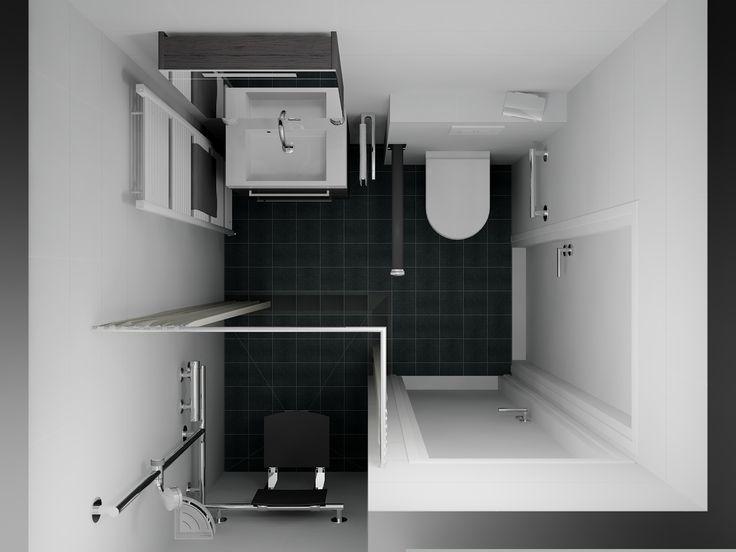 Een 3D ontwerp van een badkamer die ondersteunend is aan het gebruik door minder validen. Het zitje in de douche en de beugel naast het toilet zijn opklapbaar, wat de badkamer ook geschikt maakt voor gemengd gebruik. De wandgreep in de douche is niet alleen gecombineerd met de glijstang maar is ook gemakkelijk grijpbaar en biedt houvast. Een 360 view in 3D op http://www.sani-bouw.nl/badkamer-hoeven-badkamer-met-aangepaste-doucheruimte
