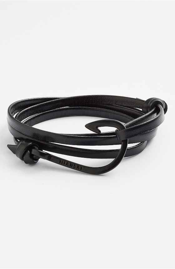Free Shipping And Returns On Miansai Noir Anchor Leather Bracelet At Nordstrom