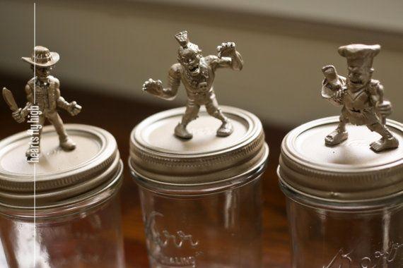 Zombie Decoration 3 Piece Metallic Halloween Zombie Figurines on Vintage Kerr Mason Jars by HeartsFlyHigh, $20.00  #zombie #balljar