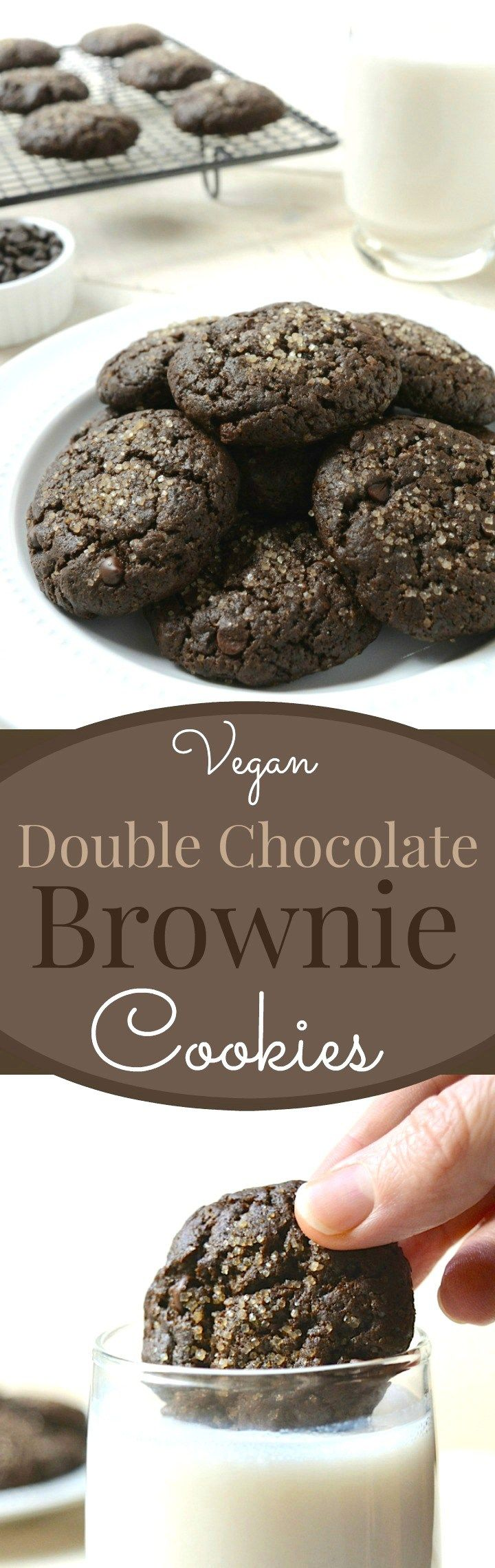 Vegan Double Chocolate Brownie Cookies are a decadent brownie crammed into a cookie then loaded with chocolate chips. They are egg-free, dairy-free and made with 8 simple ingredients you probably have on hand!