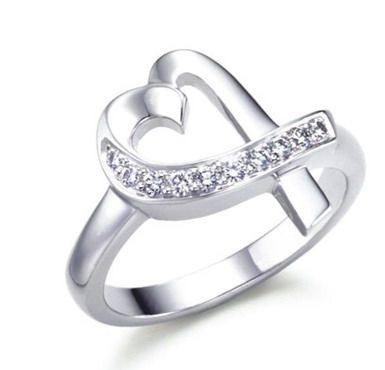 Tiffany  Co anomalous heart inlay Diamond silver Ring