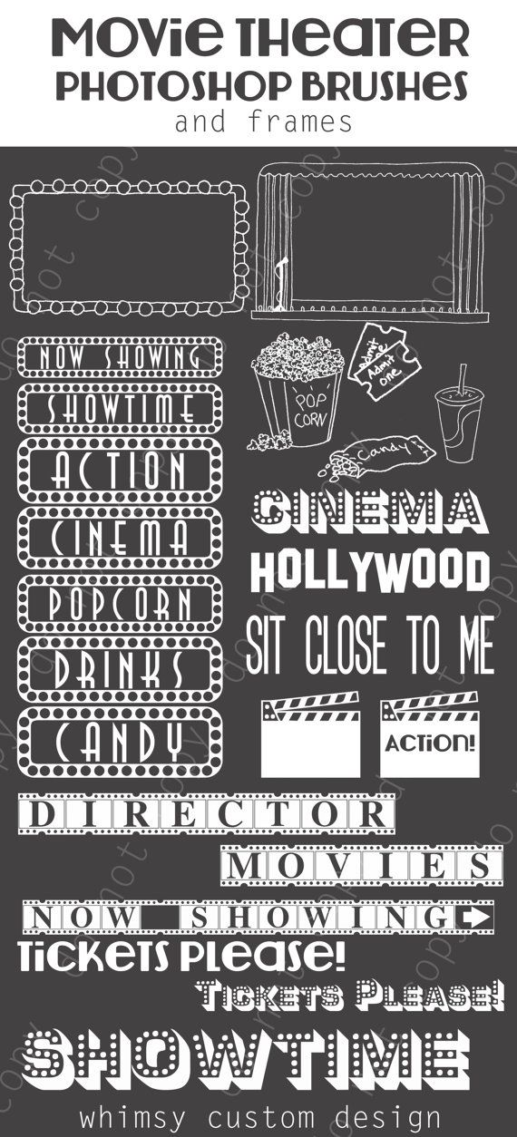 Movie Theater Cinema Photoshop Brushes Word Art Set / Chalkboard/ Chalk/ Overlays / Clip Art / Digital Stamps / Digital Scrapbooking