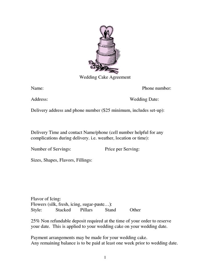 wedding cake contract template uk 23 best cake order forms images on cake 22230
