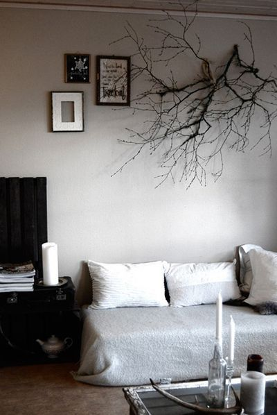 Branches as headboards.