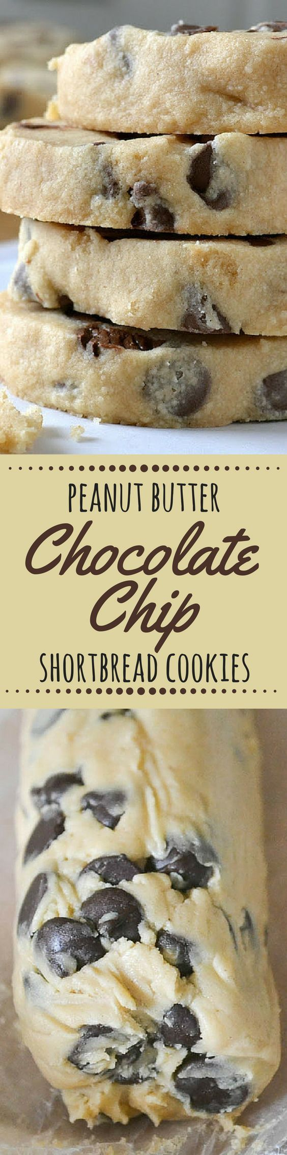 Peanut Butter Chocolate Chip Shortbread Cookies are easy slice and bake cookies with a buttery, melt in your mouth texture --- perfect for the holidays, or any day! ~ theviewfromgreati...